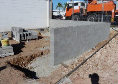 Retaining wall is in